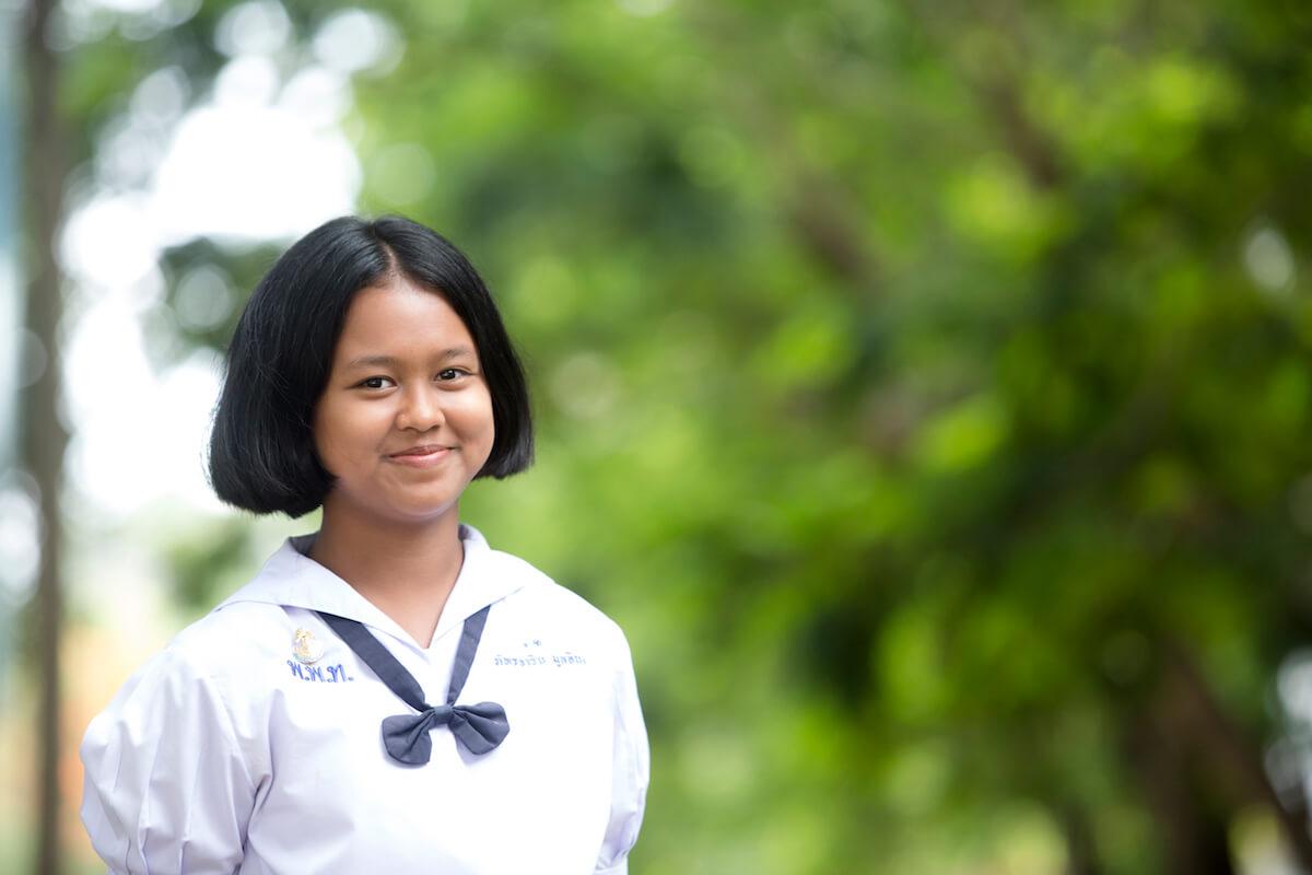"""น้องโนนิ-เด็กหญิงภัทรจาริน มูลอินทร์"""" นักเรียนในโครงการร้อยพลังการศึกษา"""